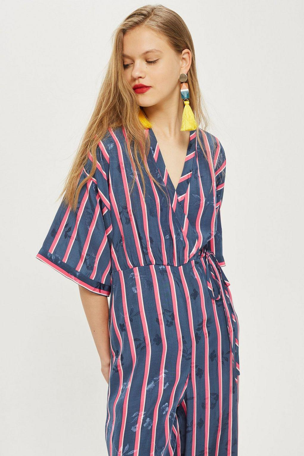 8bec004649a5 Lyst - TOPSHOP Striped Jacquard Jumpsuit in Blue