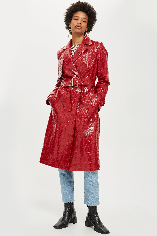acheter populaire 1995a ac563 Manteau avec motif croco en relief TOPSHOP en coloris Red