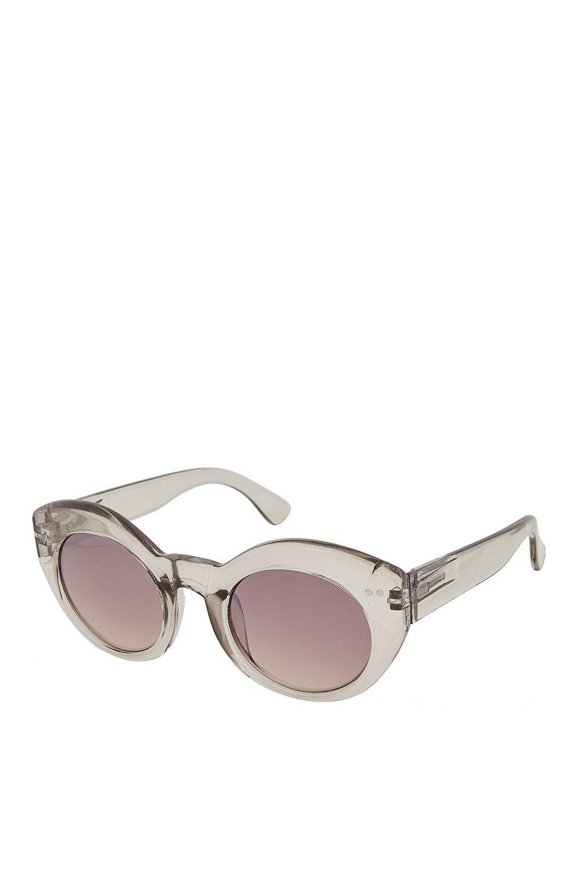 TOPSHOP Kitty Cateye Sunglasses in Pale Grey (Grey)