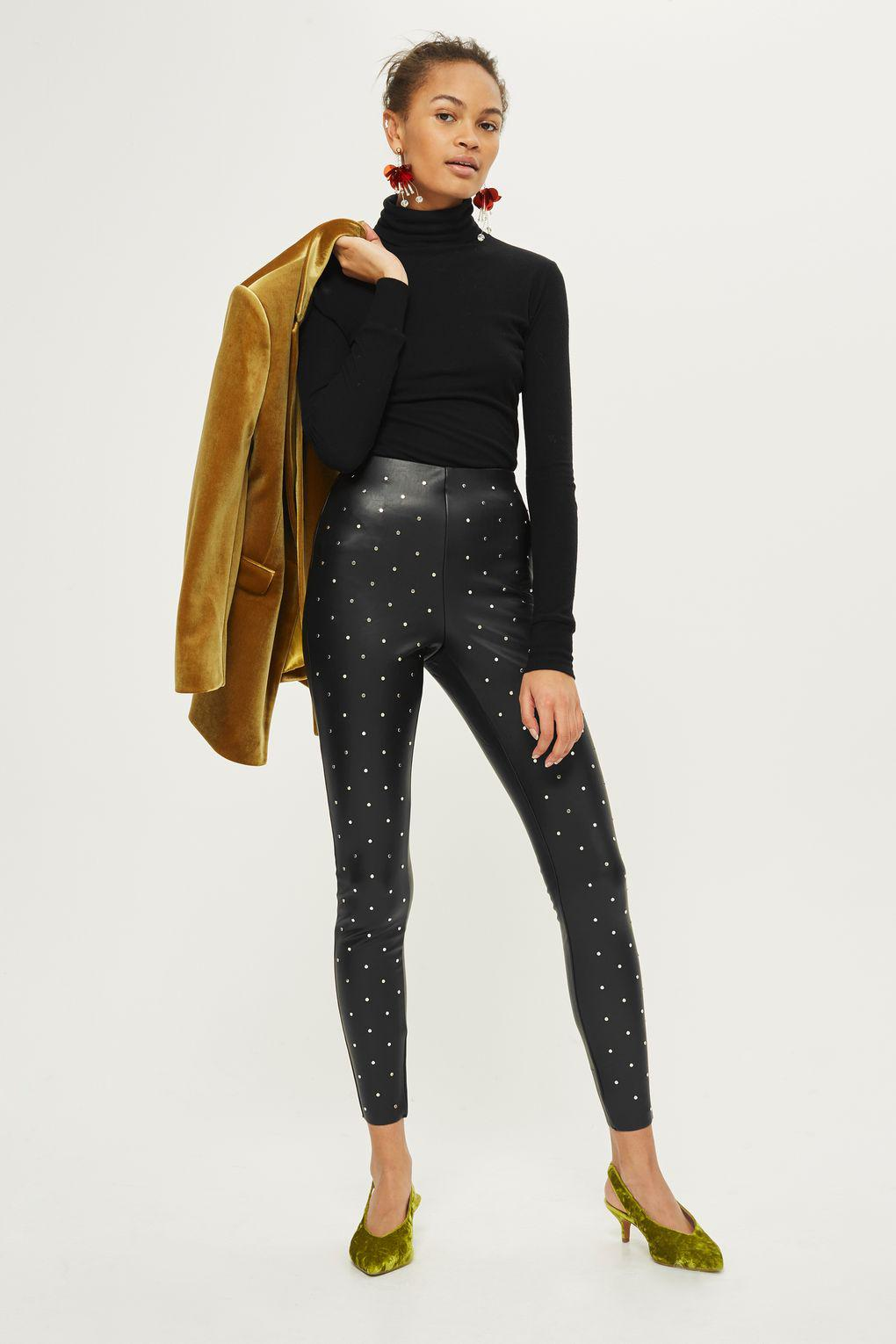 c3ad7b1f7a1f5f TOPSHOP Studded Faux Leather Trousers in Black - Lyst