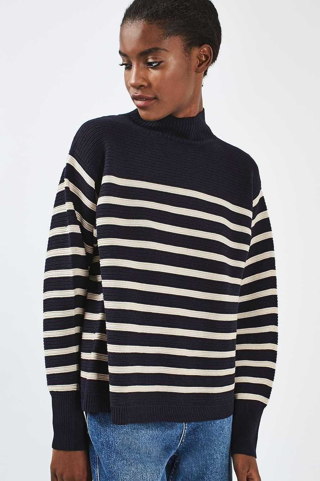 TOPSHOP Synthetic Stripe Cocoon Jumper in Navy Blue (Blue)