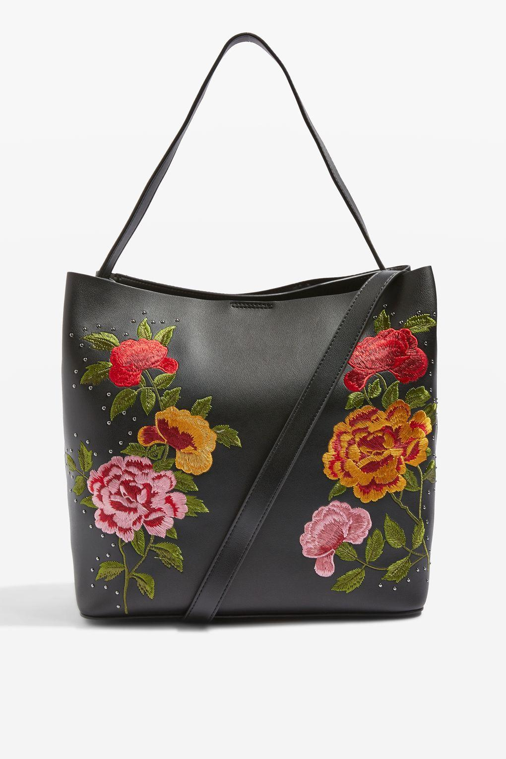 Topshop Safire Floral Embroidered Slouch Tote Bag In Black | Lyst
