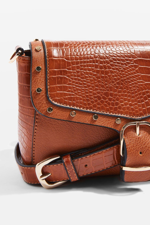 TOPSHOP Romeo Crocodile Effect Cross Body Bag in Tan (Brown)