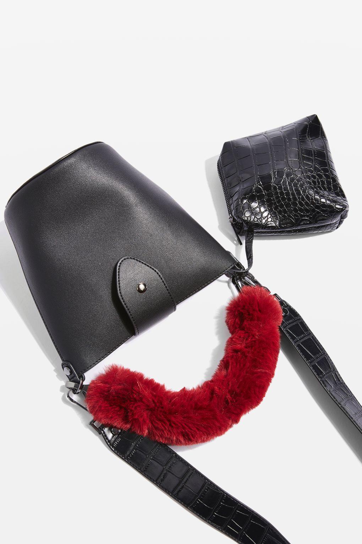 15bb166c37 TOPSHOP Anya Faux Fur Handle Bucket Bag in Black - Lyst