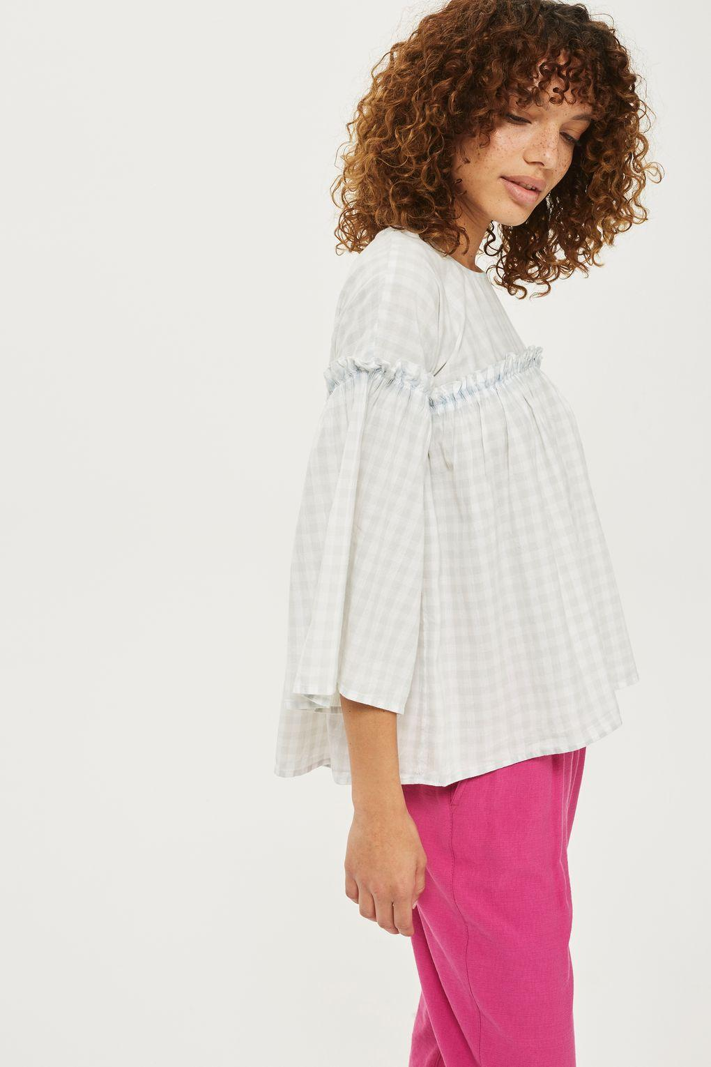 TOPSHOP Cotton Petite Washed Gingham Flute Sleeve Top in Light Grey (Grey)