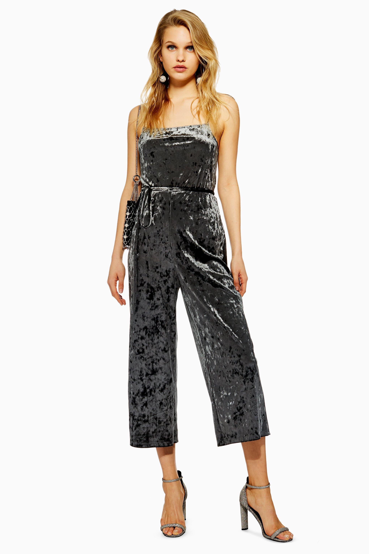 013c86bb80 Lyst - Topshop Petite Velvet Jumpsuit in Black