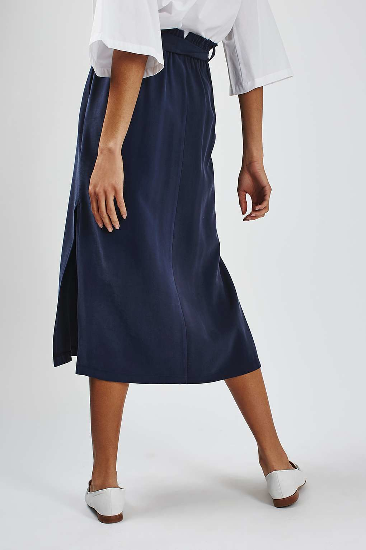 topshop paperbag tie midi skirt in blue lyst