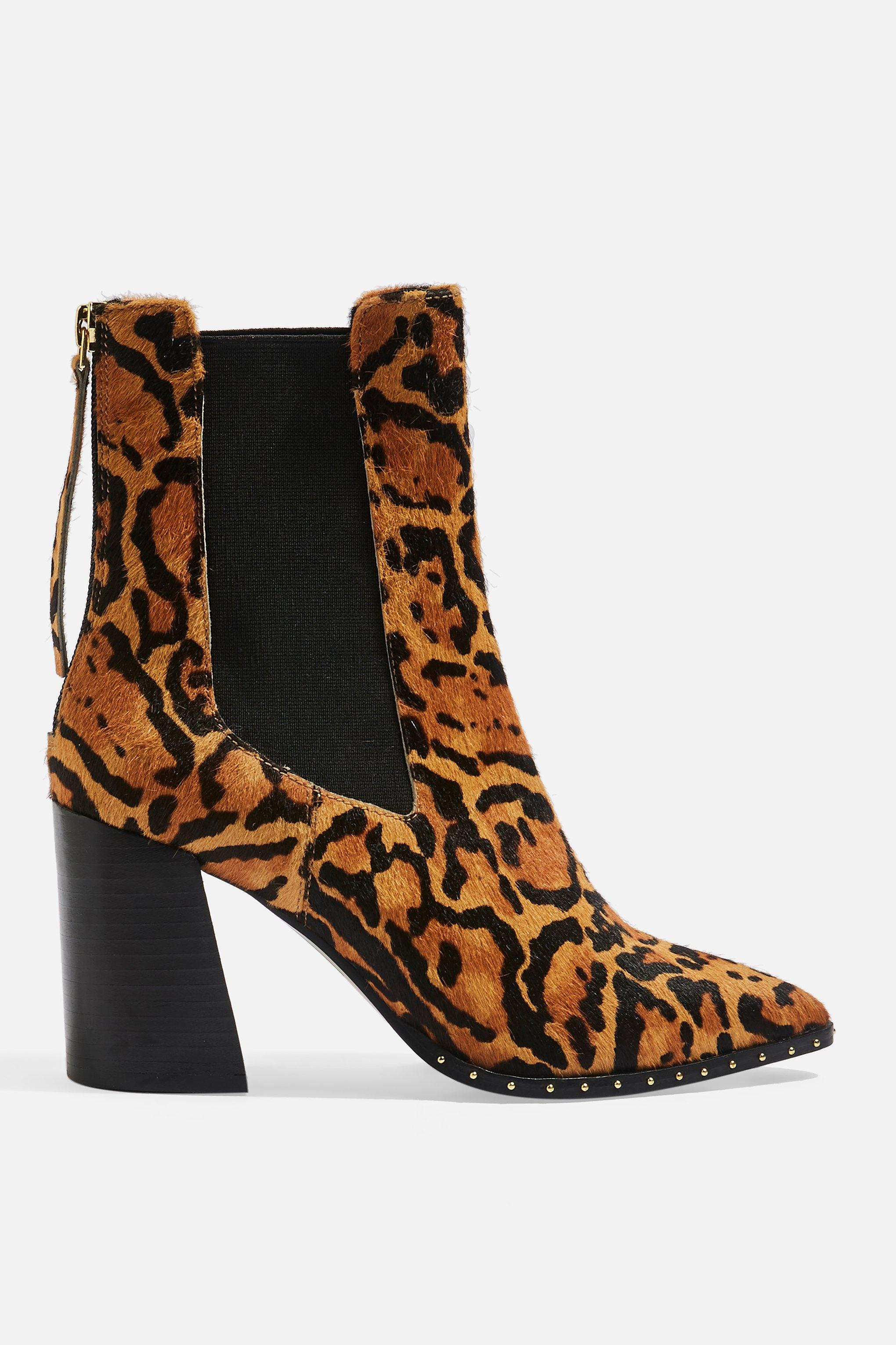 f7006a17359c TOPSHOP Harrison Leopard High Heel Ankle Boots in Brown - Lyst