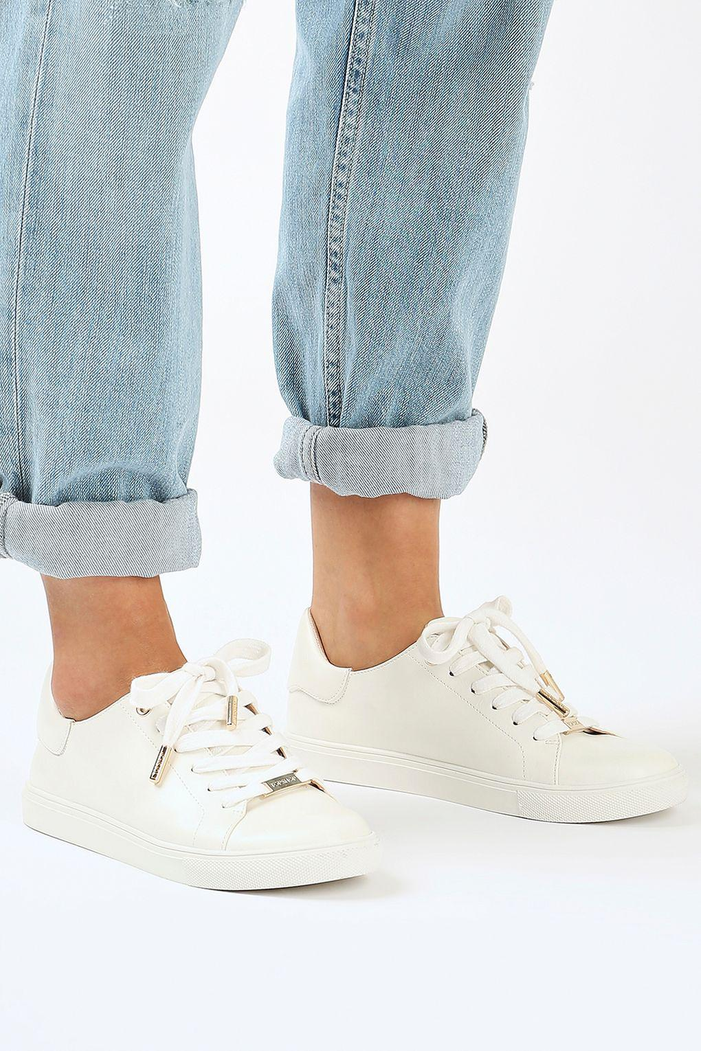 TOPSHOP Denim Catseye Lace Up Trainers