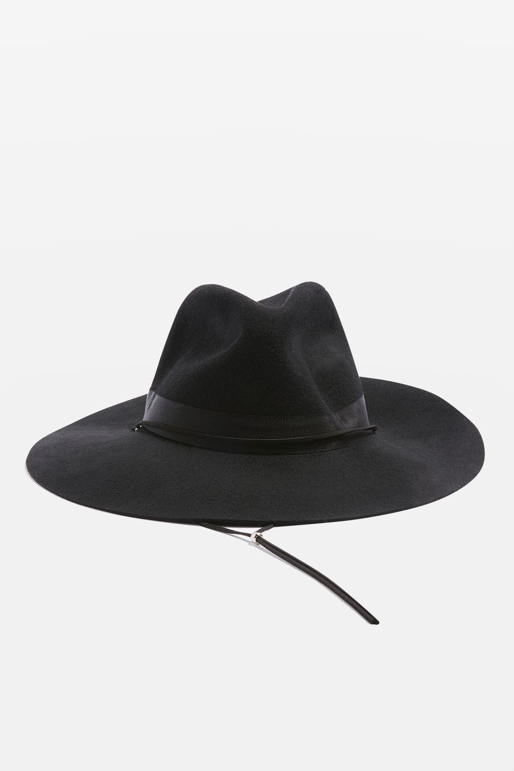 6b18f3b2b10 Topshop Trim Detail Fedora Hat in Black - Lyst