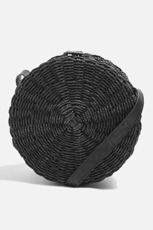 TOPSHOP Denim Barbar Straw Circle Cross Body Bag in Black