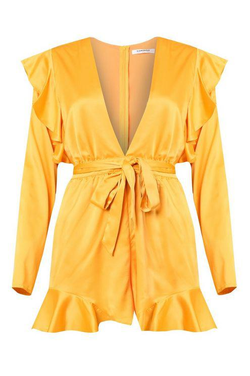 aacd20a9ab Glamorous mustard Satin Plunge Playsuit By in Yellow - Lyst