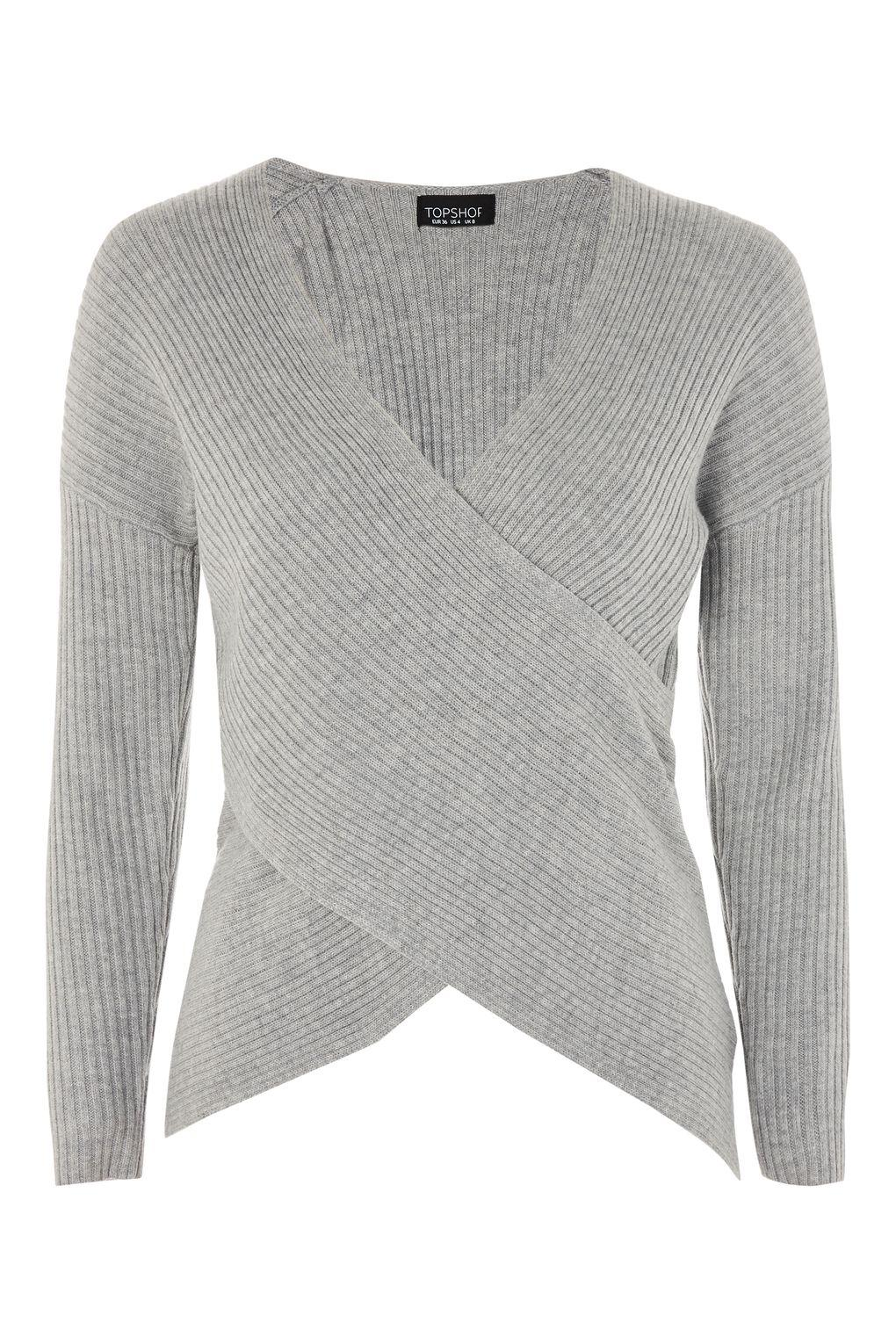 TOPSHOP Cashmere Wrap Top in Grey (Grey)