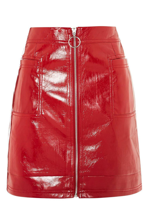 3b726926e6 Lyst - TOPSHOP Tall Cracked Vinyl Zip Mini Skirt in Red
