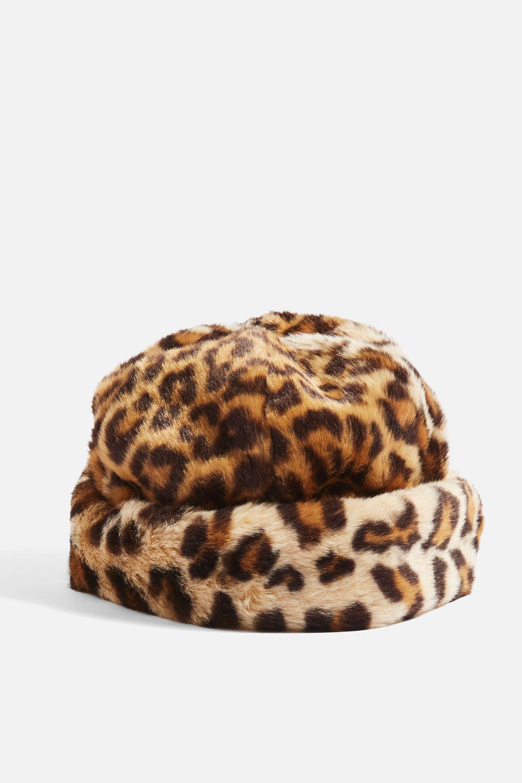 00682b2c7d9b8 TOPSHOP Faux Fur Leopard Print Hat in Brown - Lyst