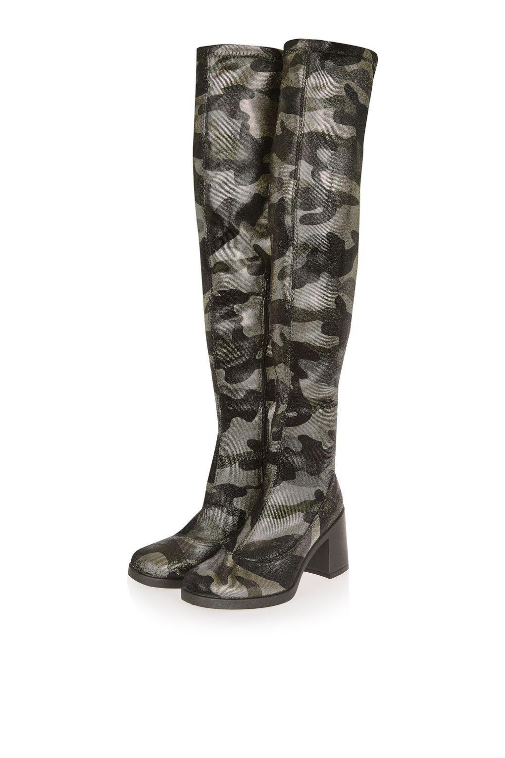 TOPSHOP Cupid Camouflage Hi Leg Boots in Green