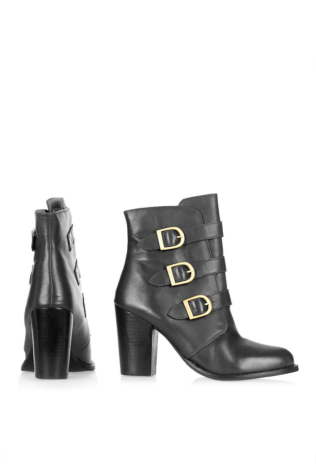 TOPSHOP Leather 'horoscope' Ankle Boot in Black