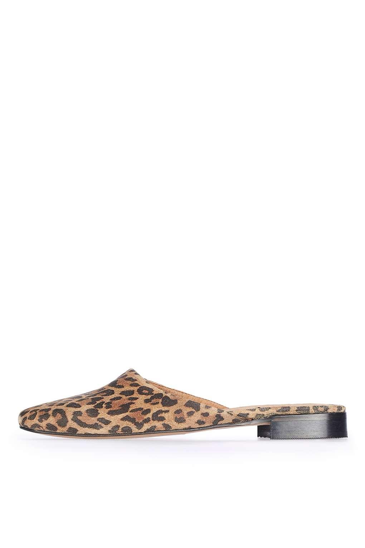 Topshop Kava Leopard Print Suede Mules Lyst
