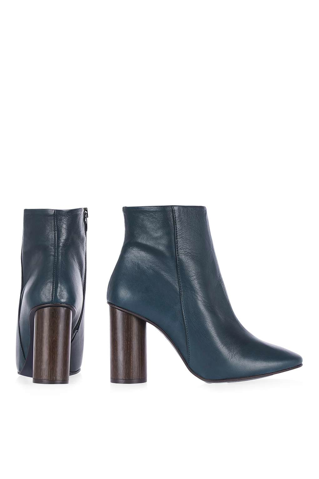 TOPSHOP Leather March Wood Heel Boots in Navy Blue (Blue)