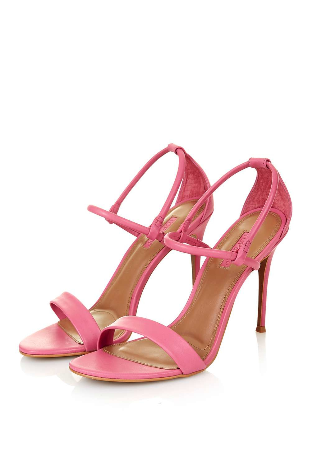 topshop romeo soft two part sandals in pink lyst