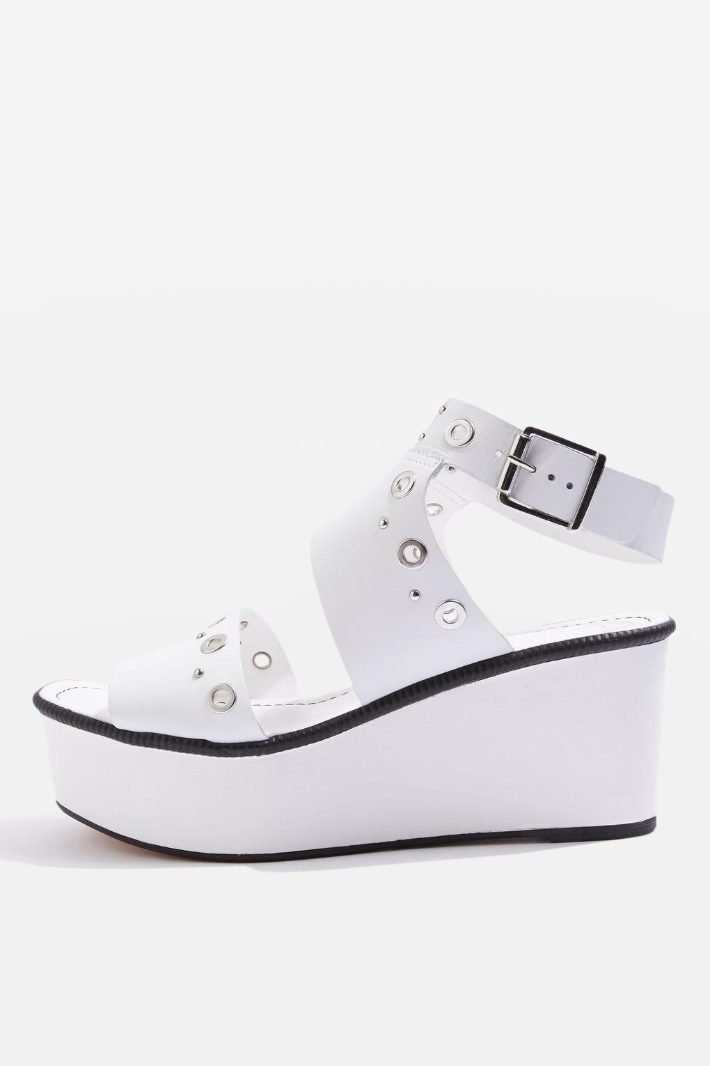 d79cce369516 Topshop Wizz Studded Platform Sandals in White