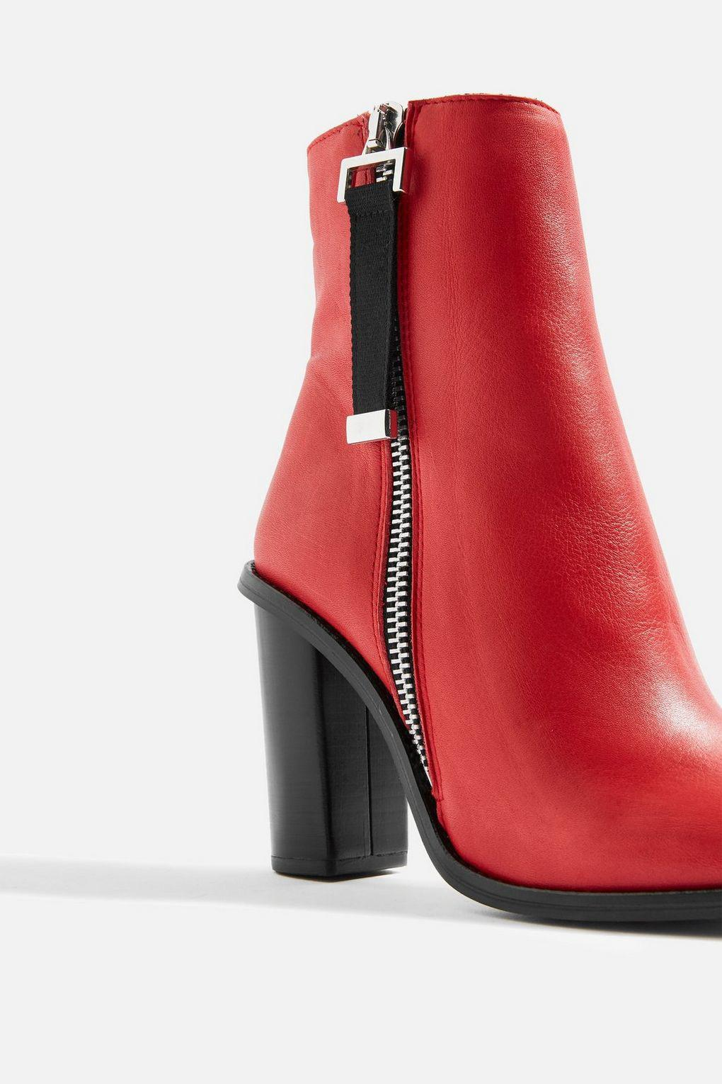 TOPSHOP Leather Hero Ankle Boots in Red