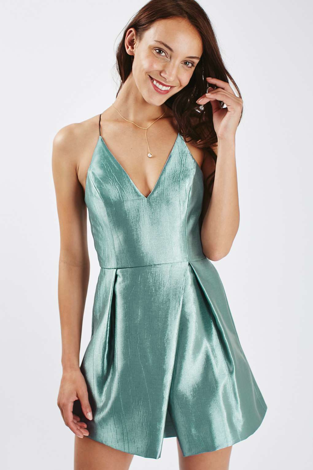 6bc213fd65c3 TOPSHOP Crinkle Satin Prom Dress in Blue - Lyst