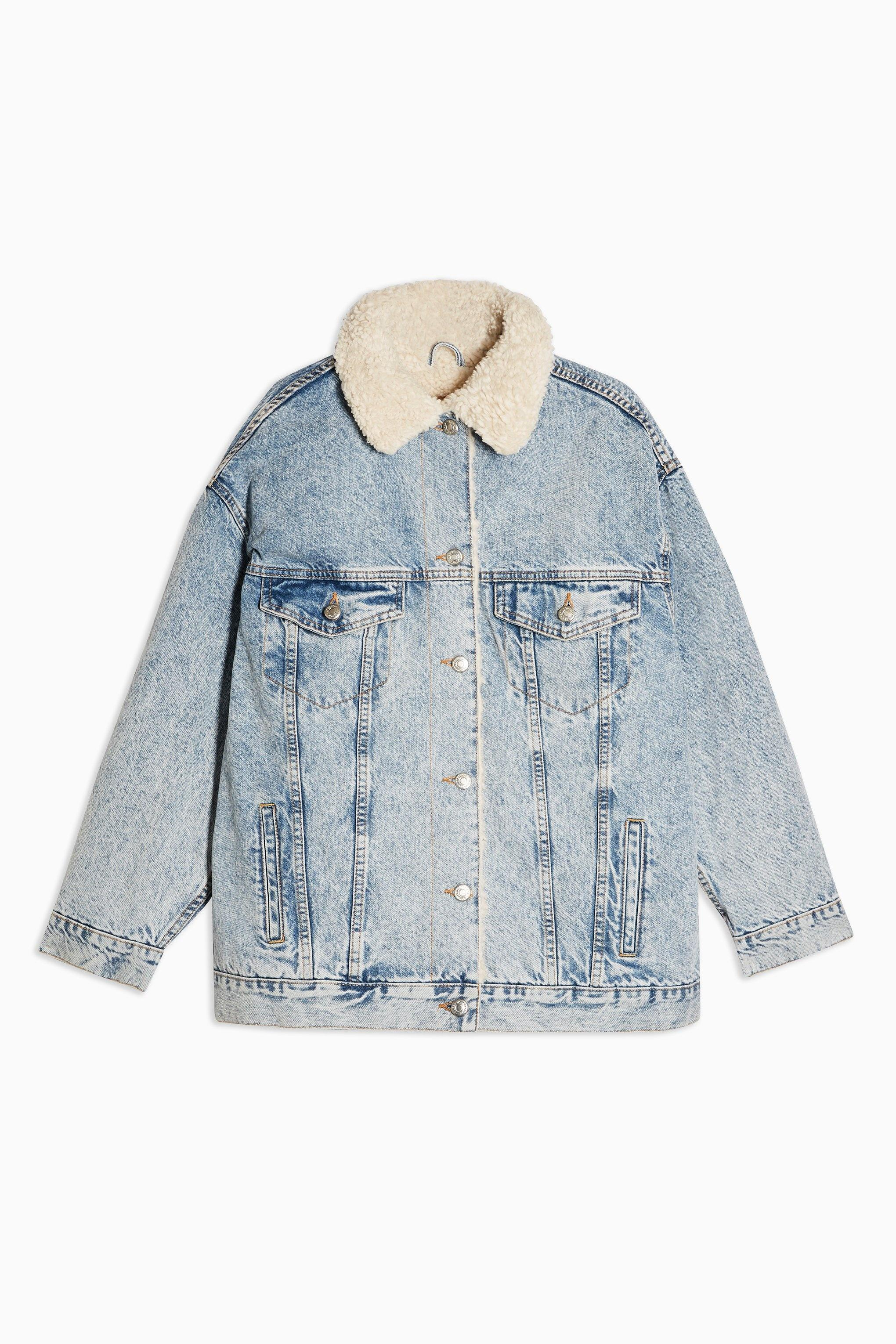sale best authentic new products TOPSHOP Bleach Super Oversized Borg Lined Denim Jacket in Bleach ...