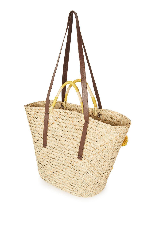 TOPSHOP Summer Pom Pom Straw Tote Bag in Natural