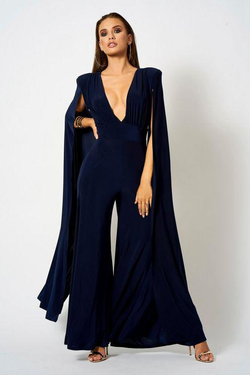 0b227be12282 Club L plunge Front Cape Jumpsuit By in Blue - Save 6% - Lyst