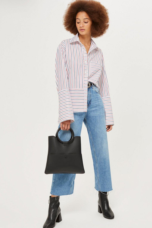TOPSHOP Denim Petite Mid Blue Cropped Wide Leg Jeans