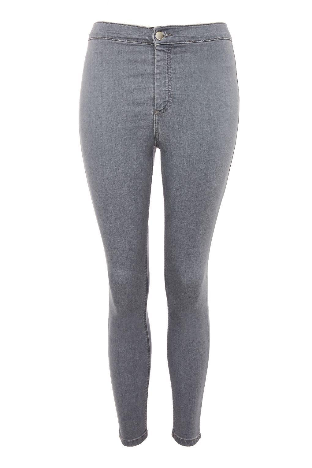 TOPSHOP Denim Petite Grey Joni Jeans in Grey