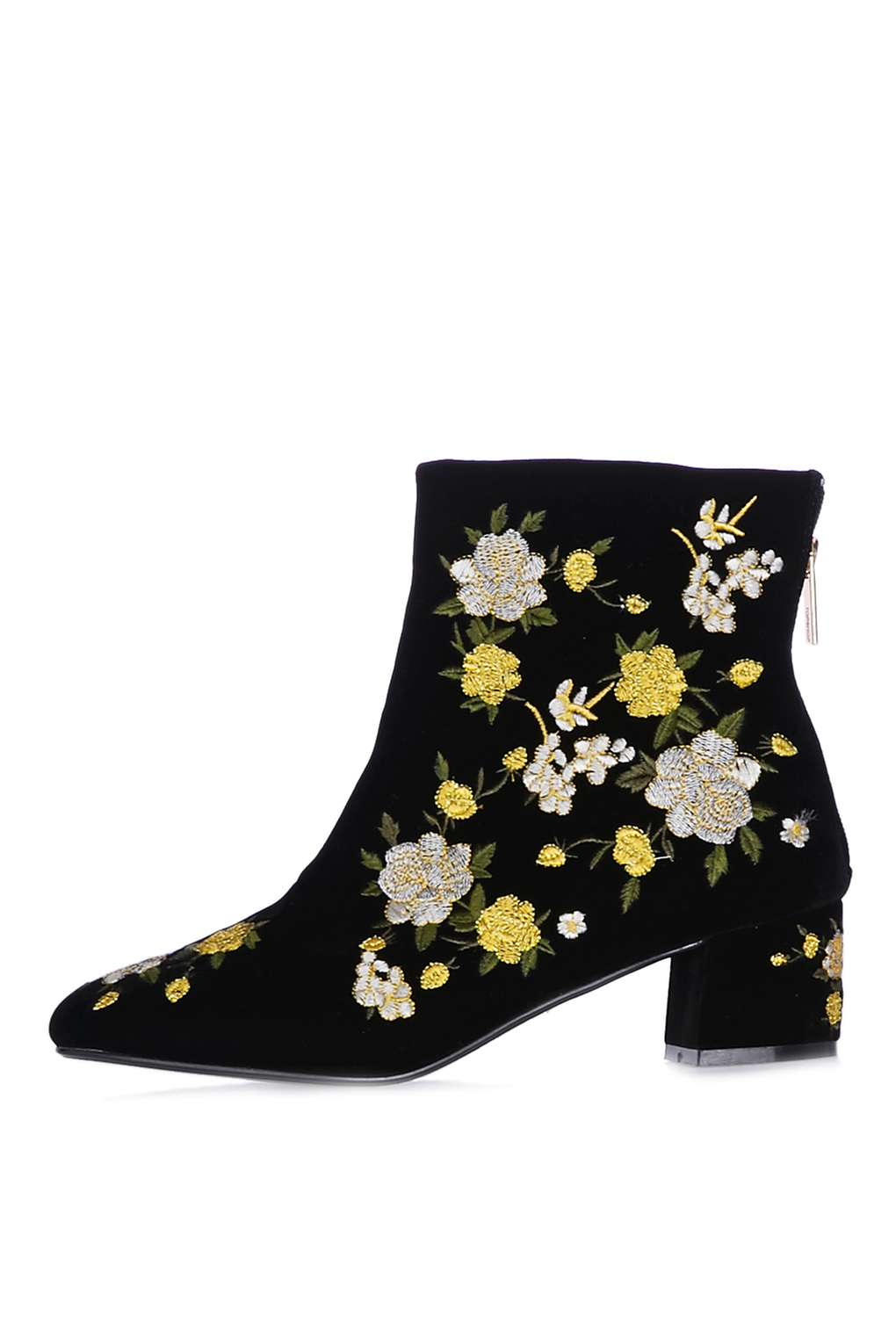 topshop blossom embroidered boots in yellow lyst