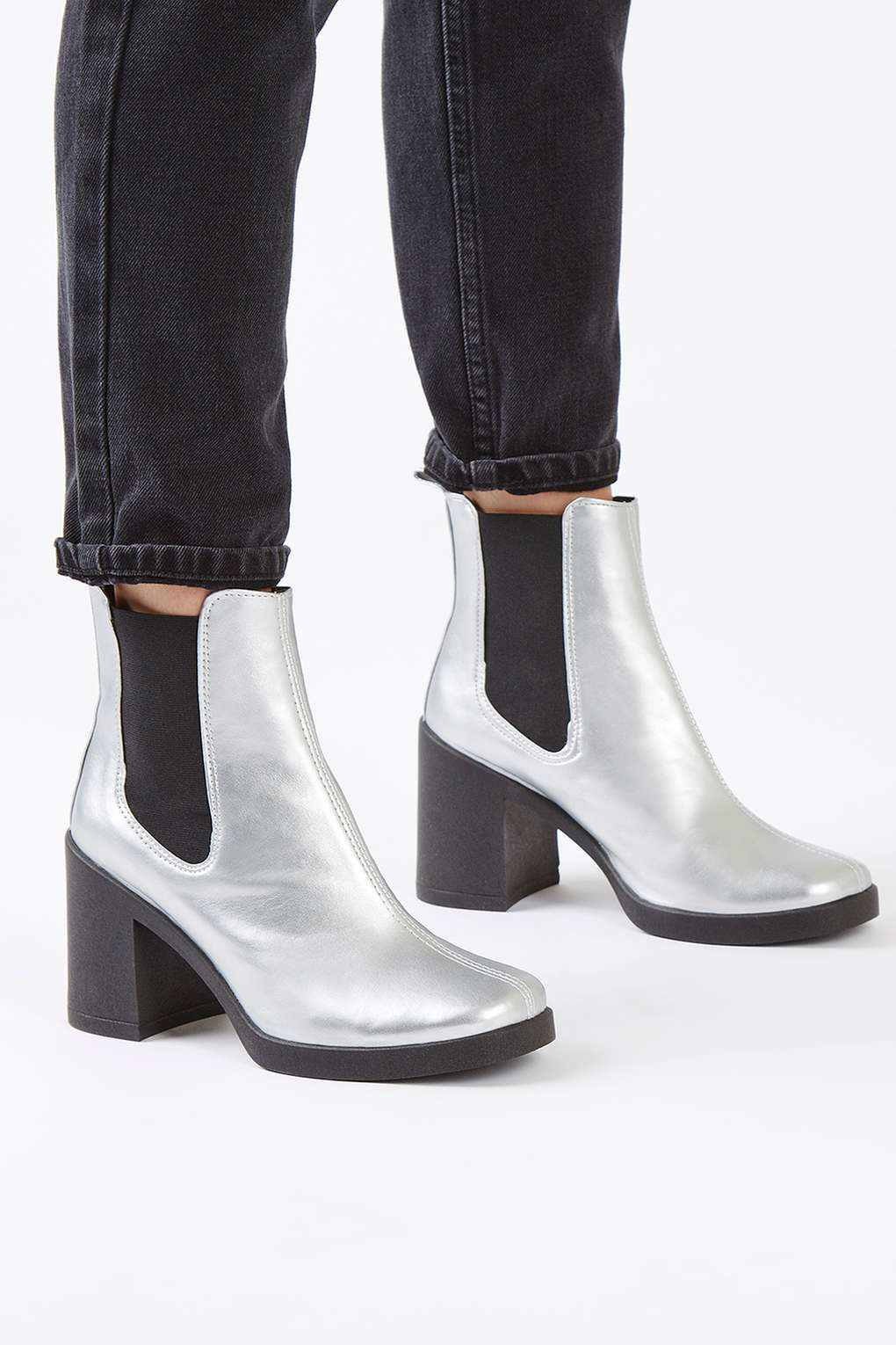 TOPSHOP Synthetic Barnaby Bootie in Silver (Metallic)