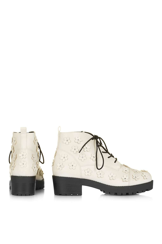 TOPSHOP Denim Kiwi Flower Boot in White