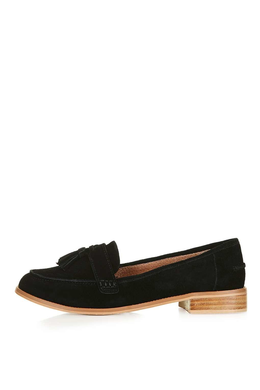 Lyst Topshop Lottie Suede Loafers In Black