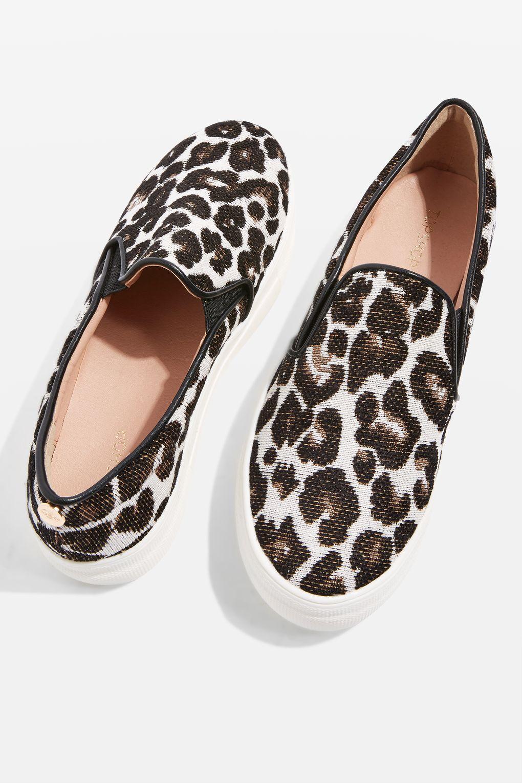 TOPSHOP Denim Tucker Leopard Print Slip On Trainers