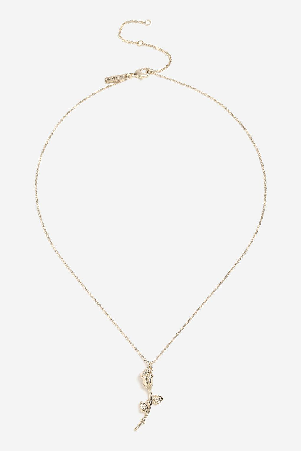 Topshop Gold Look Rose Ditsy Necklace In Metallic Lyst