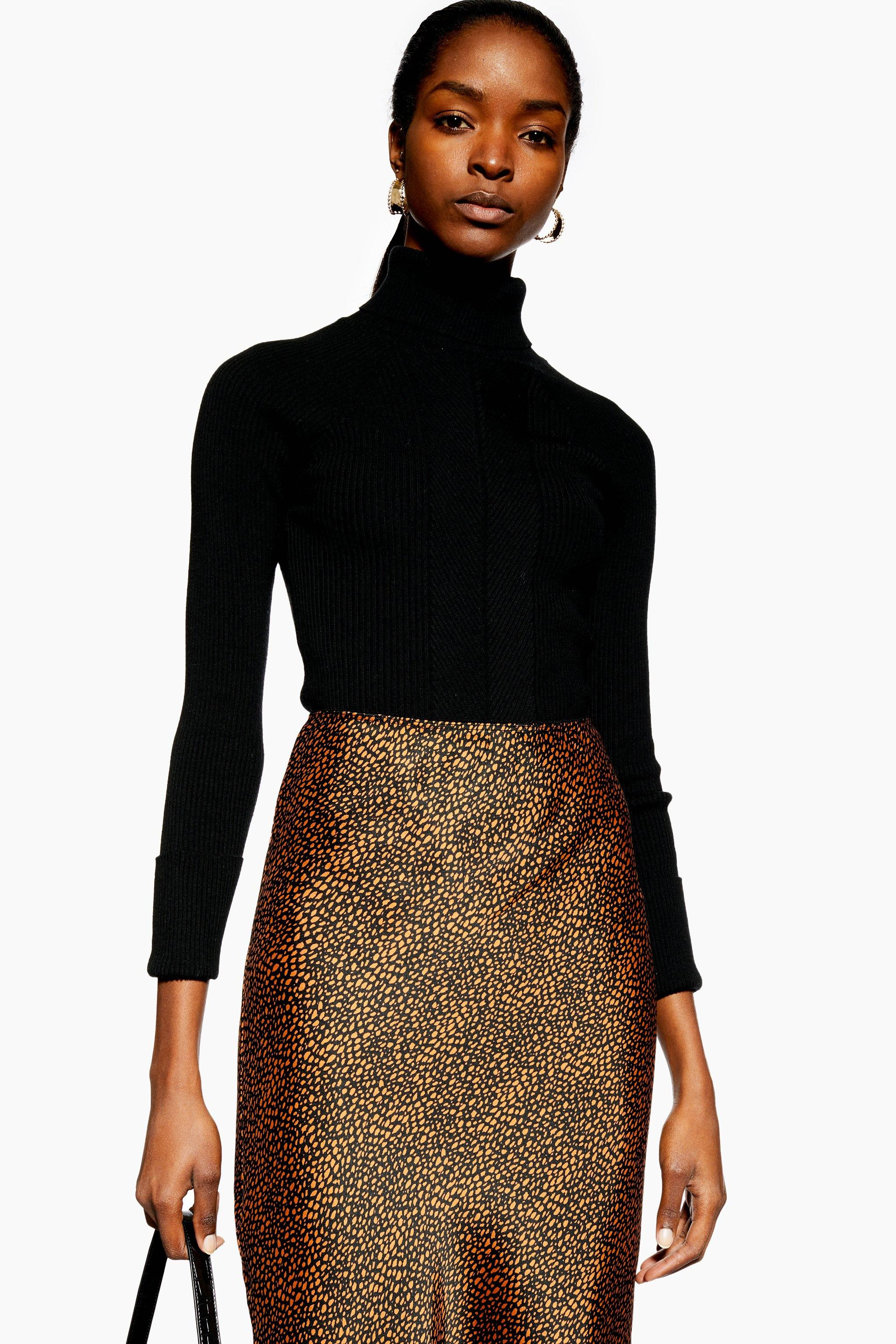 details for elegant in style structural disablities TOPSHOP Satin Animal Spot Midi Skirt in Rust (Brown) - Lyst