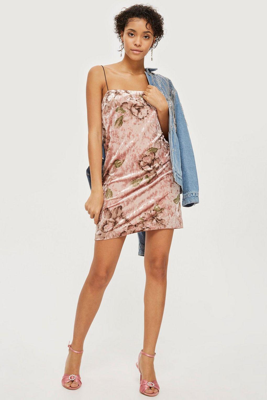 26cc3c9d TOPSHOP Floral Velvet Square Neck Mini Slip Dress in Pink - Lyst