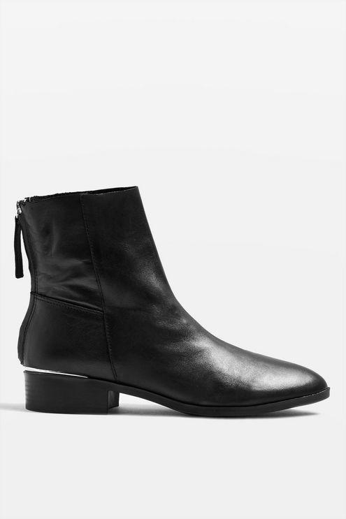 1c8352eec TOPSHOP - Black Wide Fit Koko Unlined Flat Leather Boots - Lyst. View  fullscreen