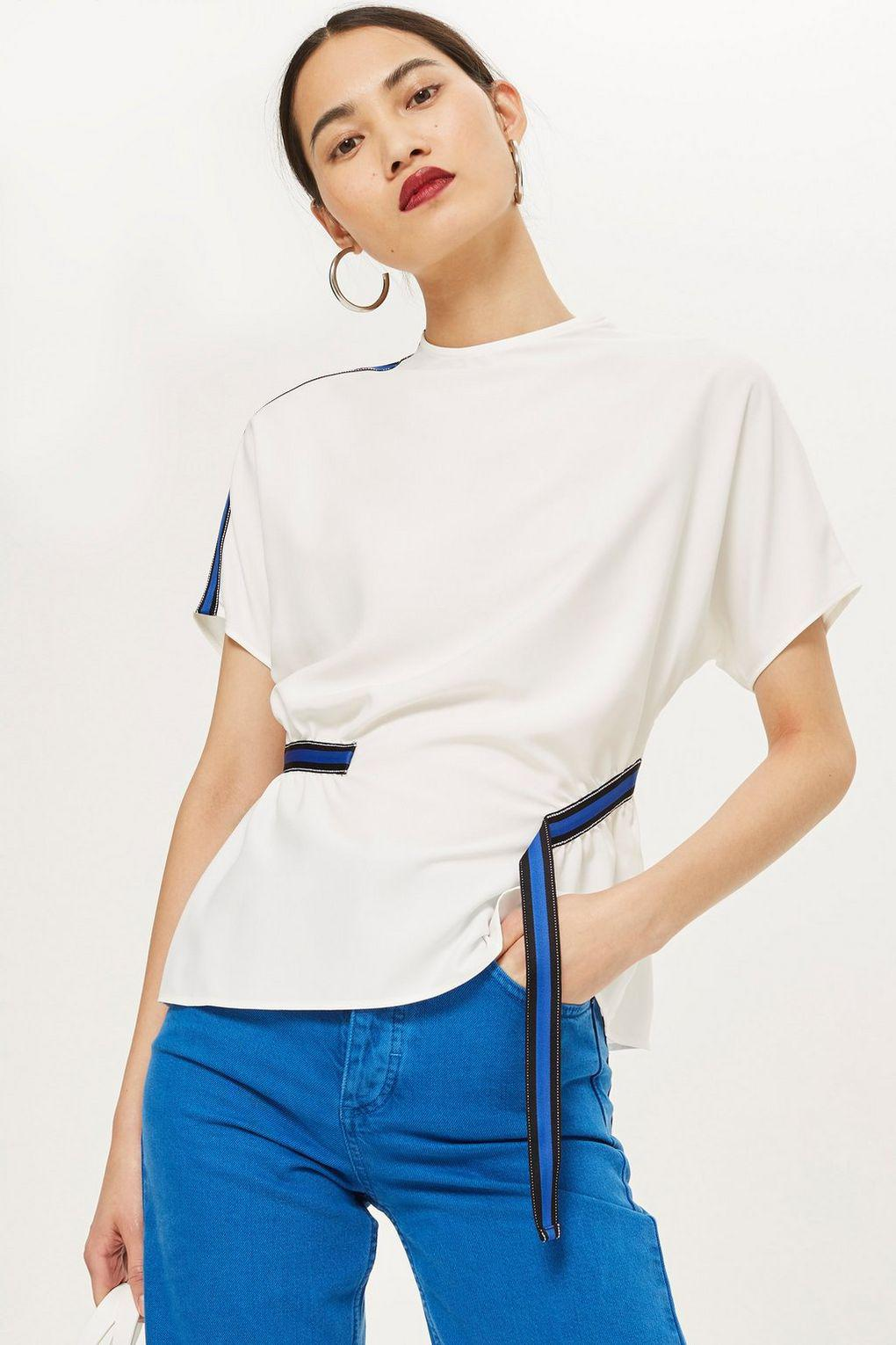 Lyst - TOPSHOP Blue Side Striped Blouse in White 0eff43031