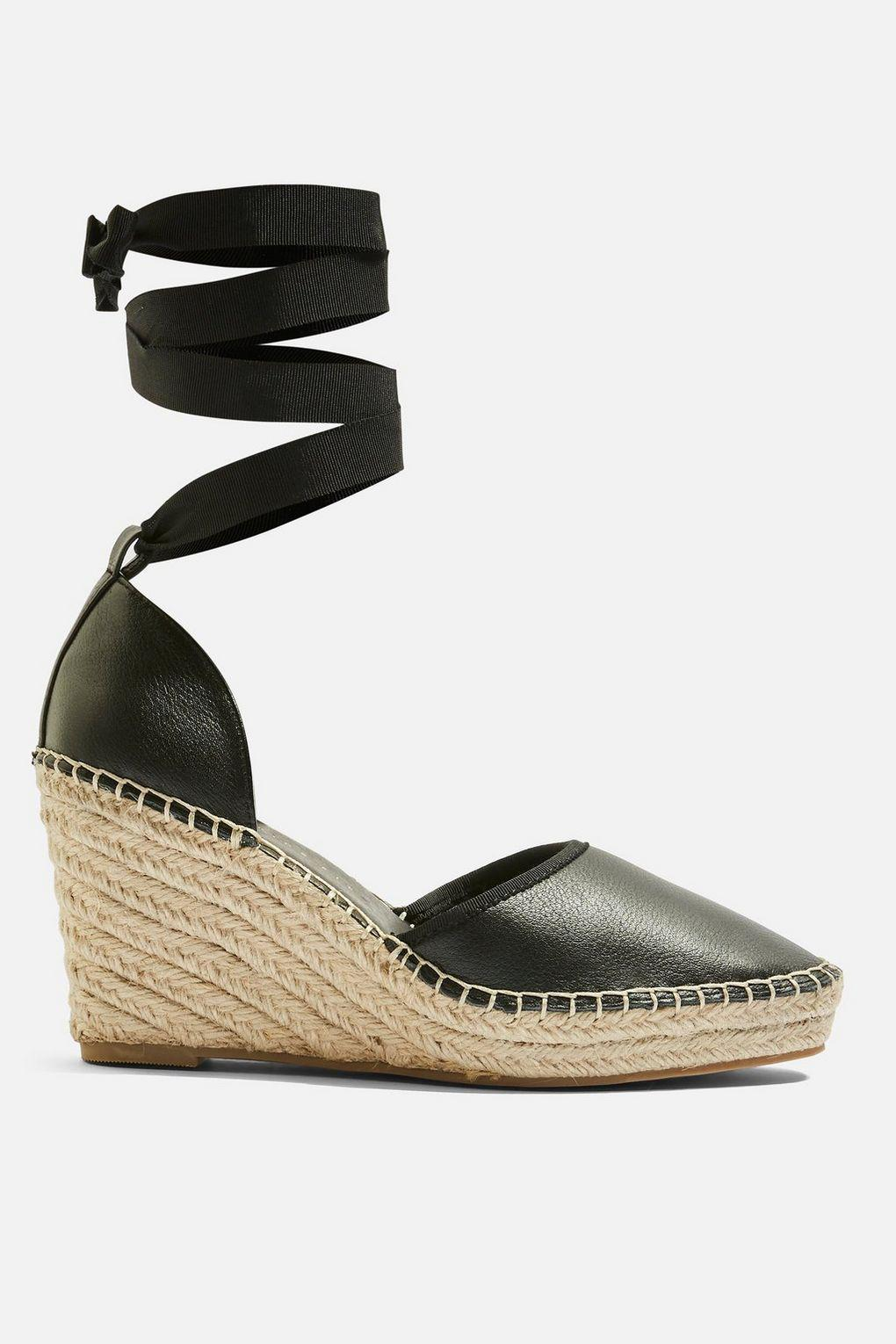 074aa262287 TOPSHOP - Black Wide Fit Williams Espadrille Wedges - Lyst