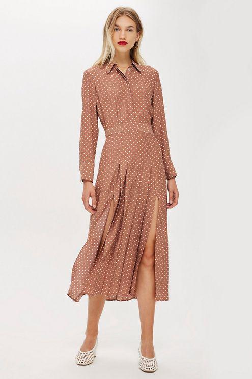 Topshop Rust Spot Print Shirt Dress Lyst