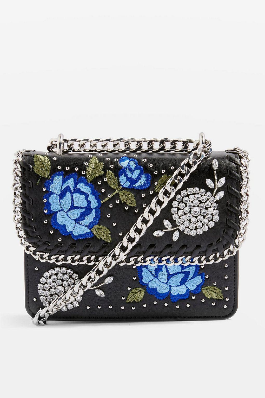TOPSHOP Rio Floral Cross Body Bag in Black