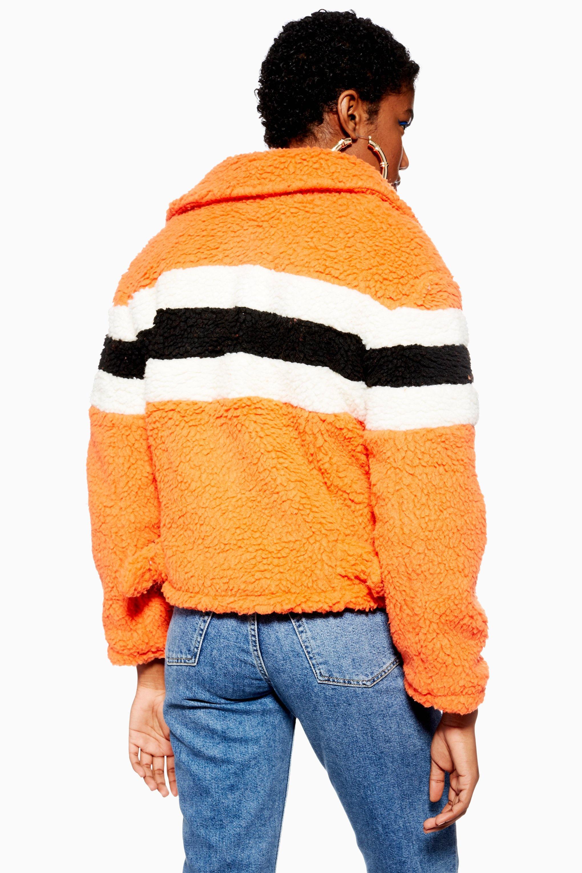 a028d7316 Lyst - TOPSHOP Petite Borg Biker Jacket in Orange