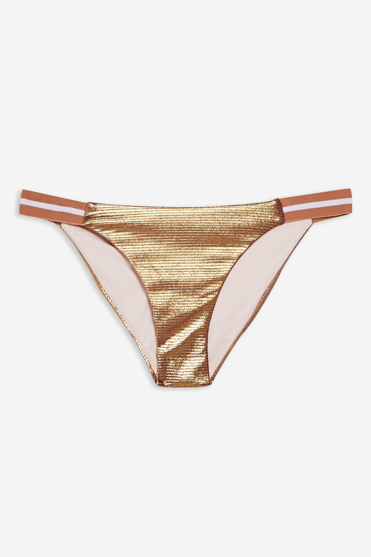 a6159a71c30 Lyst - Topshop Metallic Rib Tanga Bikini Bottoms in Natural