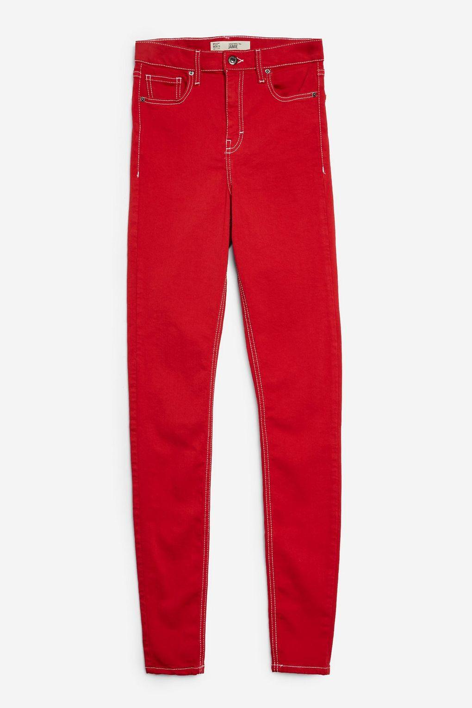 TOPSHOP Denim Tall Red Jamie Jeans