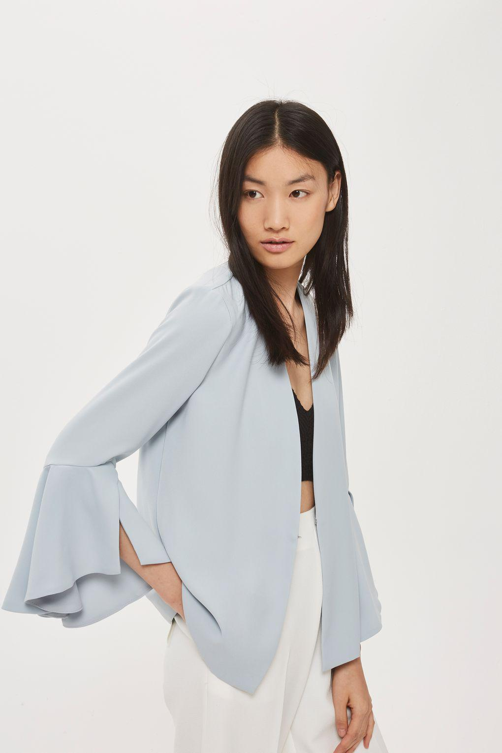 TOPSHOP Synthetic Waterfall Sleeve Blazer in Pale Blue (Blue)