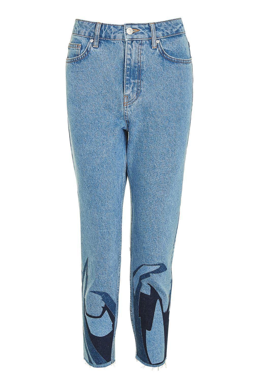 TOPSHOP Denim Flame Applique Mom Jeans in Blue